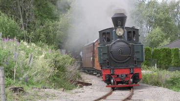 Narrow gauge steam train passing in beautiful scenery passing by curve whistle b Footage