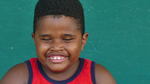 46 Black Children Portrait Happy Young Boy Laughing At Camera Footage