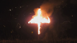 Burning cross at night Footage