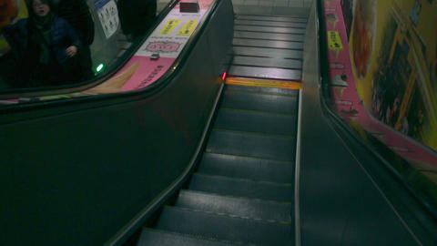 Running Escalator at Taipei Metro East Gate Station. HD Live Action
