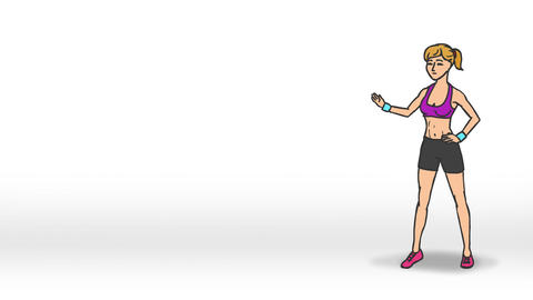 Animated Talking Character - Fitness Girl (Looped) stock footage