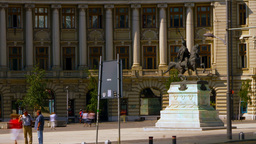 BUCHAREST, ROMANIA - JULY, 2015: Rush Hour In University Square, Static Shot stock footage
