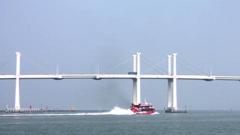 Jetfoil sailing under the Friendship bridge, departing from Macau to Hong Kong Footage
