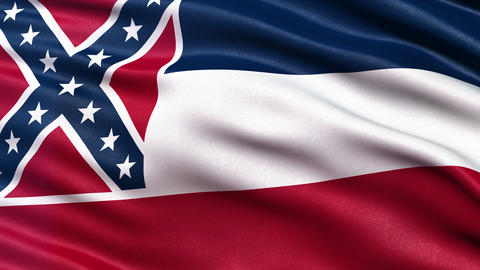 4K Mississippi state flag seamless loop Ultra-HD Animation