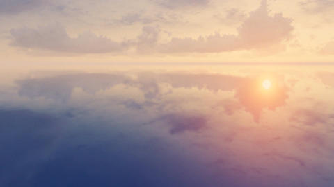 Sunset Clouds Over Mirror Surface Time Lapse stock footage