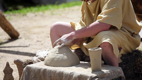 Pottery works. Pottery creation process, handmade Footage
