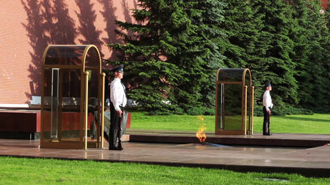 MOSCOW, RUSSIA - JULY 11, 2015: Changing guards in Alexander's Garden near etern Footage