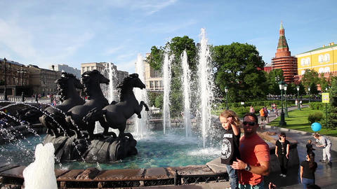 """MOSCOW, RUSSIA - JULY 15, 2015: Fountain """"Four Seasons"""" on Manezh Square on July Footage"""