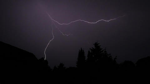 Lightning Strikes During A Heavy Thunderstorm stock footage