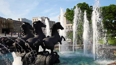 "Fountain ""Four Seasons"" on Manezh Square on July 3, 2015 in Moscow, Russia. Comp Footage"