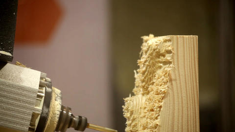 Close-up wooden processing. Units can perform a wide range of machining operatio Footage