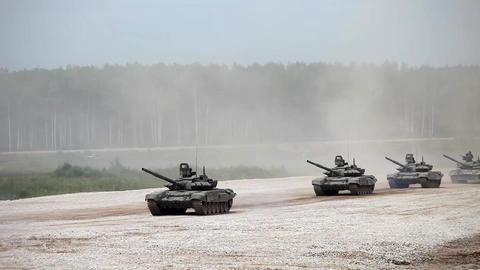Military tanks driving along the road, Russian military convoy Live Action