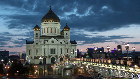 Night view of Cathedral of Christ the Savior in Moscow, Russia Footage