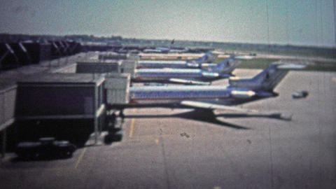 CHICAGO - 1966: The Classic Astrojet Airplane At O'hare Airport From The Travel  stock footage