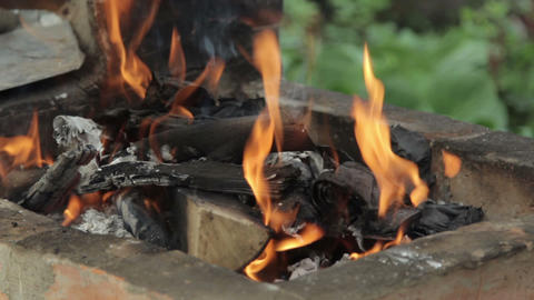 Burning wood in a brazier Footage