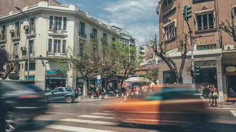 People crossing Tsimiski street, Thessaloniki, Greece Footage