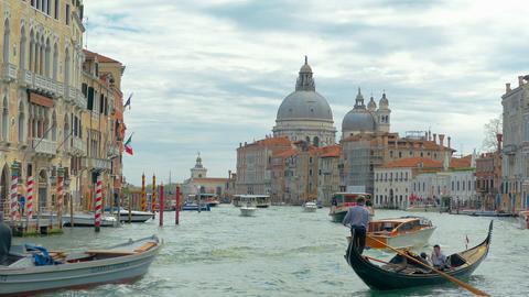 Gondolier ride, Santa Maria Della Salute. Venice, Italy Footage