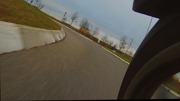 A turn in a roundabout with a motorcycle, loopable Footage