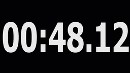 Digital counter 1 minute backwards white numbers on black Stock Video Footage