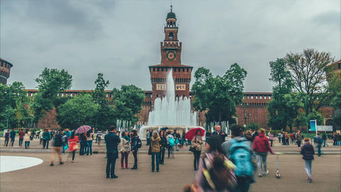 Sforza Castle - Milan, Italy Footage