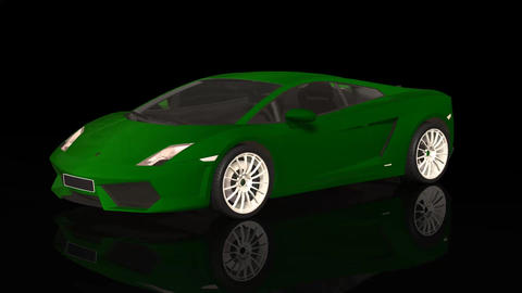 Luxury Sport Car Lamborghini Green Color Moving Rotation Footage