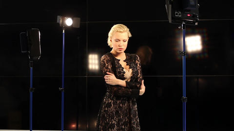 Model posing for photo session in studio Footage