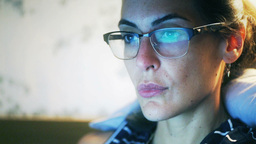 Woman Look At A Computer Screen stock footage