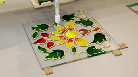 Automated machinery for stained glass painting Footage