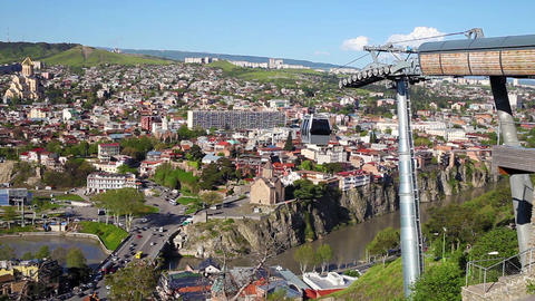 Cable car transportation system from Narikala fortress to the city center in Tbi Live Action