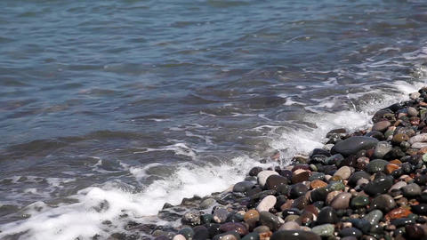Sea Waves Crashing On The Stone Beach In Batumi, Georgia stock footage