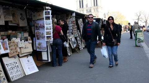 Selling posters in Paris Stock Video Footage