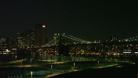 Brooklyn Bridge by night Stock Video Footage
