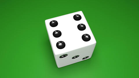 3D dice turn around 03 green Stock Video Footage