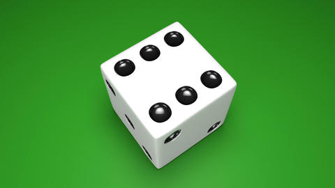 3D dice turn around 03 green Animation