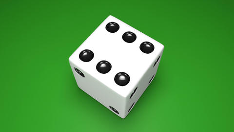 3D dice turn around 03 green Stock Video Footage