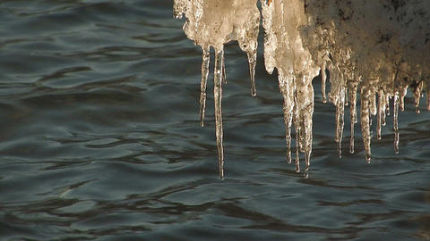 Melting ice pillars in Towada Lake,Aomori,Japan Stock Video Footage