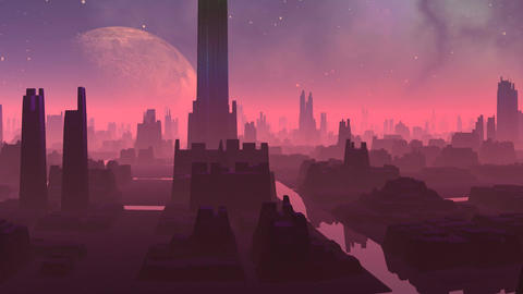 Fantastic (alien) city and huge planet Animation
