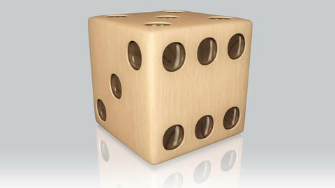 3D wood dice turn around 02 Stock Video Footage