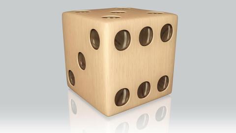 3D wood dice turn around 02 Animation