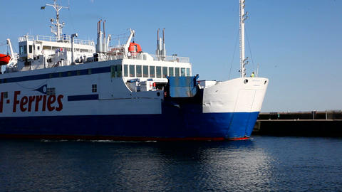 Ferry with passengers Stock Video Footage