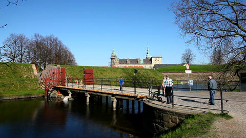Bridge to Kronborg Castle Stock Video Footage
