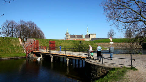 Bridge to Kronborg Castle Stock Video Footage