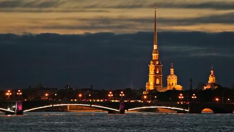 Night traffic on the Troitsky Bridge Stock Video Footage