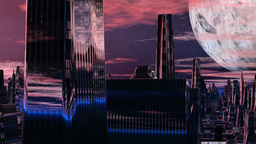 Fantastic (alien) city and huge planet Stock Video Footage