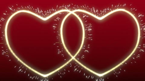Two glowing, sparkling hearts Stock Video Footage