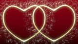 Two Glowing, Sparkling Hearts stock footage