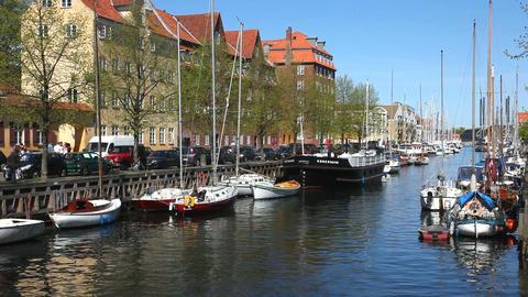 A canal in Copenhagen Stock Video Footage