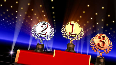 Podium Prize Trophy Cc3 HD Stock Video Footage