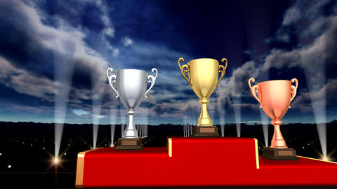 Podium Prize Trophy Cup Aa5sky HD Stock Video Footage