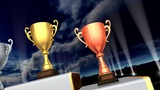Podium Prize Trophy Cup Ca5sky HD stock footage